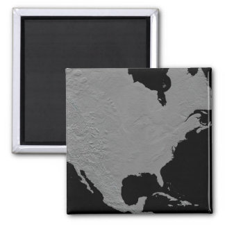 Stereoscopic view of North America 2 Square Magnet