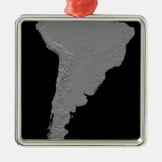 Stereoscopic view of South America Silver-Colored Square Ornament