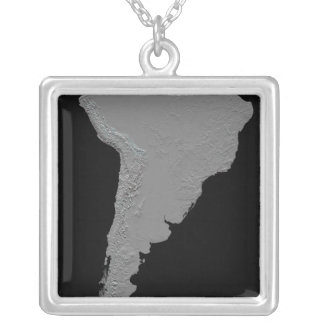 Stereoscopic view of South America Square Pendant Necklace