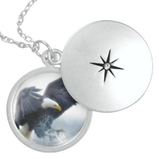 Sterling Silver Bald Eagle Medium Sized Locket Necklace