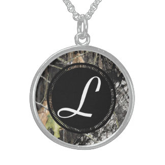 Sterling Silver Camo Monogrammed Necklace
