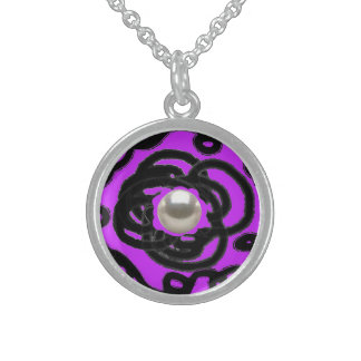 """Sterling Silver Necklace Round purpl """"Pearl Swirl"""""""