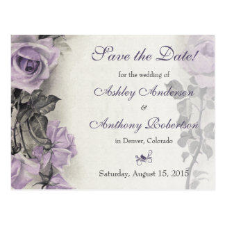 Sterling Silver Purple Rose Wedding Save the Date Postcards