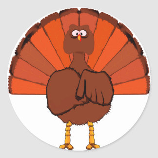 Stern Christmas Turkey. Round Sticker