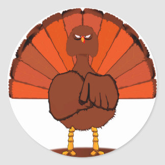 Stern Christmas Turkey Round Sticker