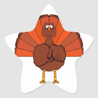 Stern Christmas Turkey. Star Sticker