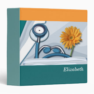 Stethoscope and Daisy Custom Gift Binder for Nurse