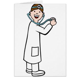 Stethoscope Doctor Cartoon Character Card