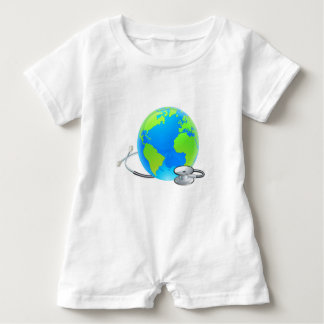 Stethoscope Earth World Globe Health Concept Baby Romper
