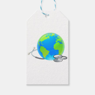 Stethoscope Earth World Globe Health Concept Pack Of Gift Tags