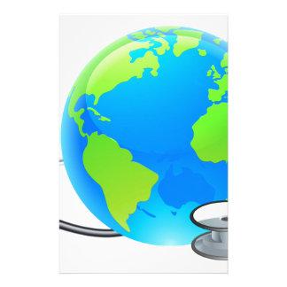 Stethoscope Earth World Globe Health Concept Stationery