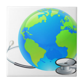 Stethoscope Earth World Globe Health Concept Tile