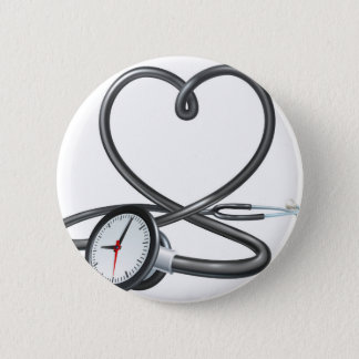 Stethoscope Heart Clock Concept 2 Inch Round Button