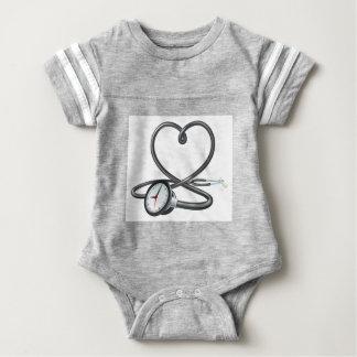 Stethoscope Heart Clock Concept Baby Bodysuit