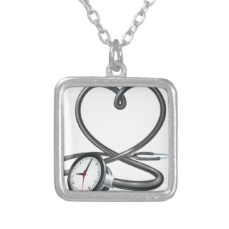 Stethoscope Heart Clock Concept Silver Plated Necklace