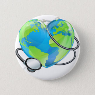 Stethoscope Heart Earth World Globe Health Concept 2 Inch Round Button