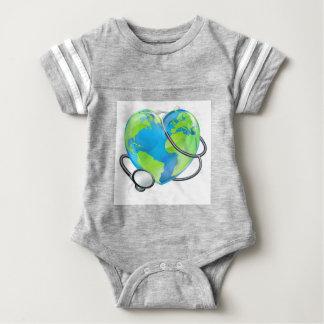 Stethoscope Heart Earth World Globe Health Concept Baby Bodysuit