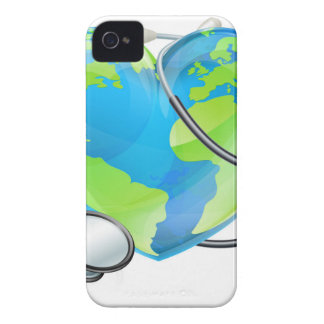 Stethoscope Heart Earth World Globe Health Concept iPhone 4 Cases