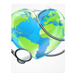 Stethoscope Heart Earth World Globe Health Concept Letterhead