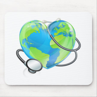 Stethoscope Heart Earth World Globe Health Concept Mouse Pad