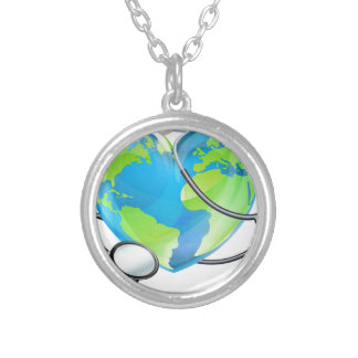 Stethoscope Heart Earth World Globe Health Concept Silver Plated Necklace