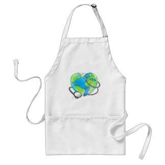 Stethoscope Heart Earth World Globe Health Concept Standard Apron
