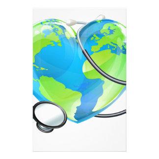 Stethoscope Heart Earth World Globe Health Concept Stationery