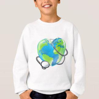 Stethoscope Heart Earth World Globe Health Concept Sweatshirt