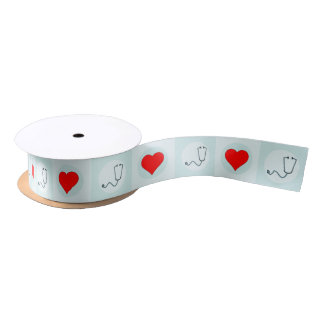 Stethoscope & Heart Nurse or Medical Practitioner Satin Ribbon