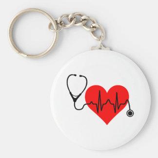 Stethoscope Heartbeat Heart Keychain