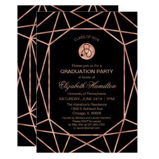 Stethoscope Nursing School Grad Party Rose Gold Card