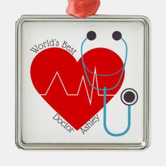 Stethoscope Personalized World's Best Doctor Nurse Metal Ornament