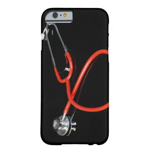 Stethoscope with its reflection on a black iPhone 6 case