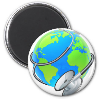 Stethoscope World Health Day Earth Globe Concept 2 Inch Round Magnet