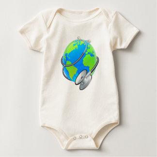 Stethoscope World Health Day Earth Globe Concept Baby Bodysuit