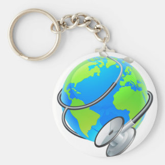 Stethoscope World Health Day Earth Globe Concept Basic Round Button Keychain