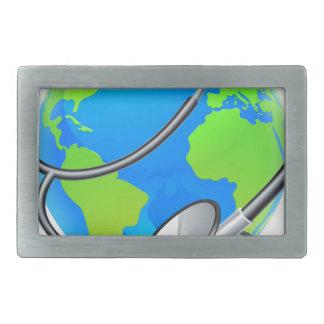 Stethoscope World Health Day Earth Globe Concept Belt Buckle