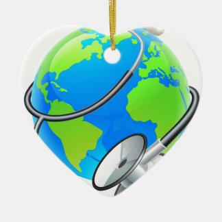 Stethoscope World Health Day Earth Globe Concept Ceramic Heart Ornament