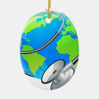 Stethoscope World Health Day Earth Globe Concept Ceramic Oval Ornament