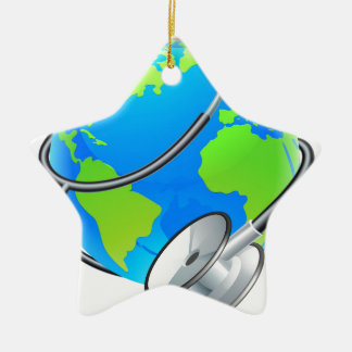 Stethoscope World Health Day Earth Globe Concept Ceramic Star Ornament