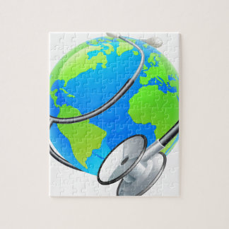 Stethoscope World Health Day Earth Globe Concept Jigsaw Puzzle