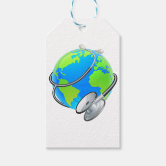 Stethoscope World Health Day Earth Globe Concept Pack Of Gift Tags