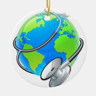 Stethoscope World Health Day Earth Globe Concept Round Ceramic Ornament