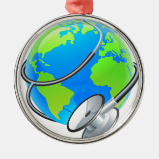 Stethoscope World Health Day Earth Globe Concept Silver-Colored Round Ornament