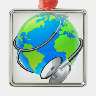 Stethoscope World Health Day Earth Globe Concept Silver-Colored Square Ornament