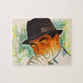Stetson hat man lighting a cigarette jigsaw puzzle