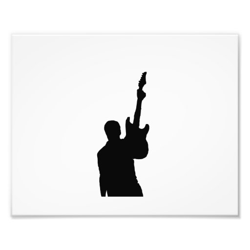 steve holding up guitar solid black photographic print