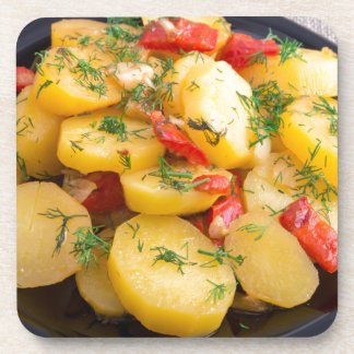 Stew of potatoes with onion, bell pepper and dill drink coaster