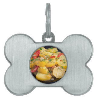 Stew of potatoes with onion, bell pepper and dill pet tag