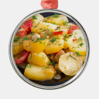 Stew of potatoes with onion, bell pepper and dill Silver-Colored round ornament